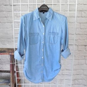 Chambray Rolled Sleeve Button Down Top Shirt